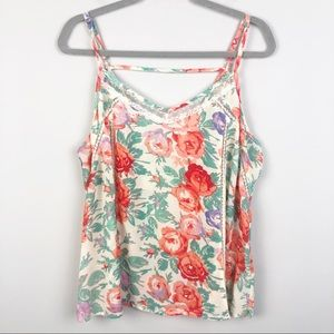 FOREVER 21+   Floral Semi Sheer Strappy Tank Top